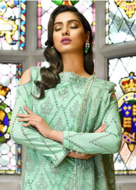 Asim Jofa Embroidered Lawn Unstitched 3 Piece Suit AJ18L 2A - Spring / Summer Collection