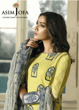 Asim Jofa Embroidered Lawn Unstitched 3 Piece Suit AJ18L 7B - Spring / Summer Collection