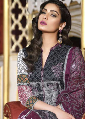 Asim Jofa Embroidered Lawn Unstitched 3 Piece Suit AJ18L 8B - Spring / Summer Collection