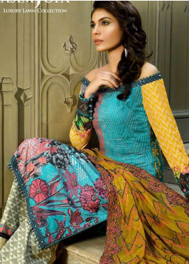Asim Jofa Embroidered Lawn Unstitched 3 Piece Suit AJ18L 9A - Spring / Summer Collection
