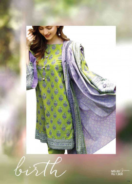 Al Karam Embroidered Cotton Unstitched 2 Piece Suit AK17E 30 Green