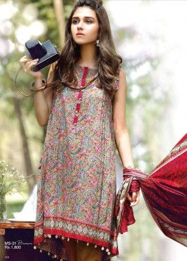 Al Karam Embroidered Cotton Unstitched 2 Piece Suit AK17E 31 Brown