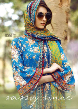 Al Karam Embroidered Cotton Unstitched 2 Piece Suit AK17E 32 Blue