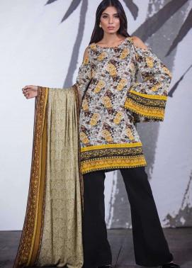 Al Karam Printed Viscose Unstitched 3 Piece Suit AK17W 05 Beige