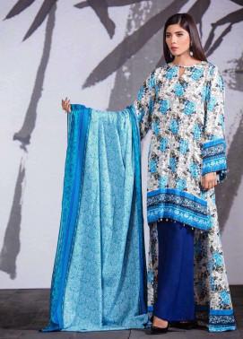 Al Karam Printed Viscose Unstitched 3 Piece Suit AK17W 05 Blue