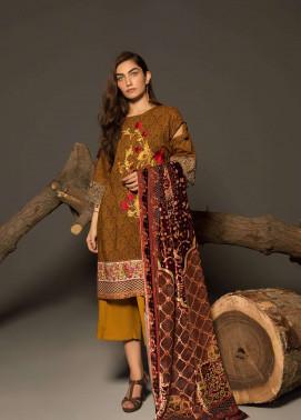 Al Karam Embroidered Linen Unstitched 3 Piece Suit AK17W 12 Brown