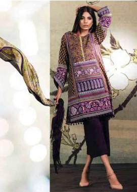 Al Karam Embroidered Linen Unstitched 3 Piece Suit AK17W 33 Purple