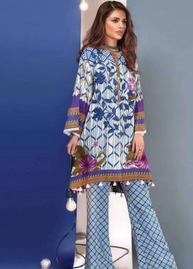 Al Karam Embroidered Linen Unstitched 3 Piece Suit AK17W 55 Blue