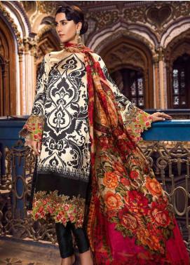 Al Karam Embroidered Charmeuse Unstitched 3 Piece Suit AK18F 09 - Festive Collection