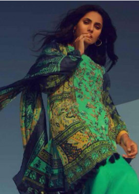 Al Karam Embroidered Lawn Unstitched 3 Piece Suit AK18L SS-11 TURQUOISE - Spring / Summer Collection