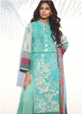 Al Karam Embroidered Lawn Unstitched 3 Piece Suit AK18L SS-08 GREEN - Spring / Summer Collection