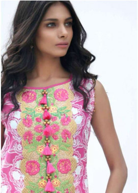 Al Karam Embroidered Lawn Unstitched 3 Piece Suit AK18L SS-58 PINK - Spring / Summer Collection