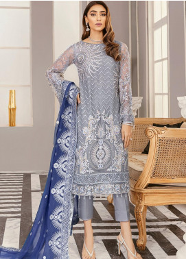 Akbar Aslam Embroidered Net Unstitched 3 Piece Suit AA21F AAWC-1341 - Formal Luxury Collection