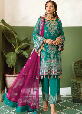 Akbar Aslam Embroidered Chiffon Unstitched 3 Piece Suit AA20WD 2311 - Wedding Collection