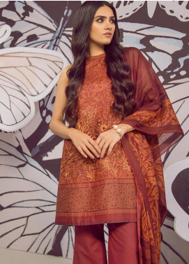 Al Karam Embroidered Cambric Unstitched 3 Piece Suit AKI19MS MS 11 19 Red - Mid Summer Collection