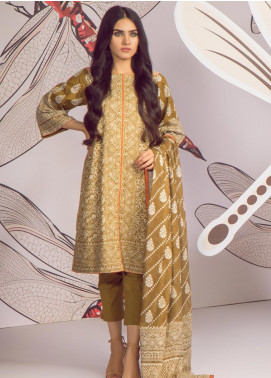 Al Karam Printed Cambric Unstitched 2 Piece Suit AKI19MS MS 16.1 19 Mustard - Mid Summer Collection