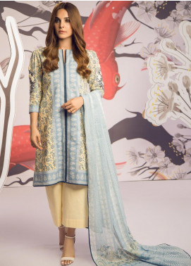 Al Karam Embroidered Cambric Unstitched 3 Piece Suit AKI19MS MS 2.1 19 Blue - Mid Summer Collection
