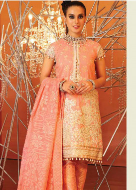 Al Karam Embroidered Cotton Silk Unstitched 2 Piece Suit AK20F-18H PEACH - Festive Collection