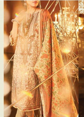 Al Karam Embroidered Cotton Silk Unstitched 3 Piece Suit AK20F-20I CREAM - Festive Collection