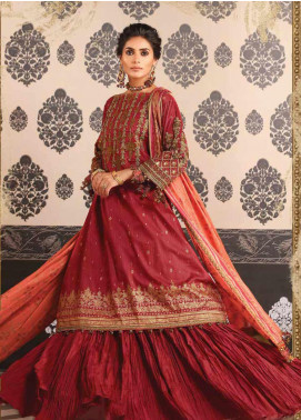 Al Karam Embroidered Cotton Silk Unstitched 2 Piece Suit AK19-F2 14H Red - Festive Collection