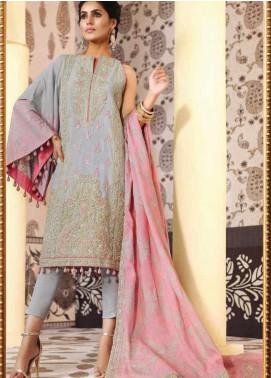 Al Karam Embroidered Cotton Silk Unstitched 3 Piece Suit AK19-F2 1A GREY - Festive Collection