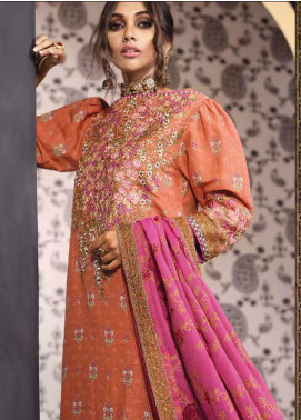 Al Karam Embroidered Cotton Silk Unstitched 3 Piece Suit AK19-F2 2A Pink - Festive Collection