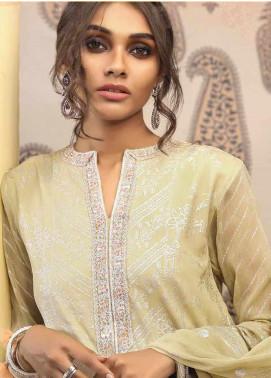 Al Karam Embroidered Cotton Silk Unstitched 2 Piece Suit AK19-F2 3B Cream - Festive Collection