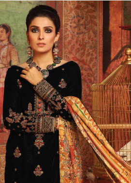 Al Karam Embroidered Velvet Unstitched 2 Piece Suit AK19-F3 W10E-19 - Festive Collection