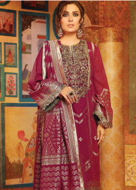 Al Karam Embroidered Jacquard Unstitched 3 Piece Suit AK19-F3 W2A-19 - Festive Collection