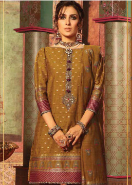 Al Karam Embroidered Jacquard Unstitched 3 Piece Suit AK19-F3 W4B-19 - Festive Collection