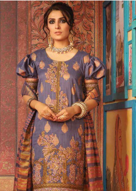 Al Karam Embroidered Broschia Unstitched 3 Piece Suit AK19-F3 W6C-19 - Festive Collection