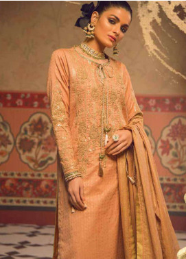Al Karam Embroidered Broschia Net Unstitched 2 Piece Suit AK19F 12F - Festive Collection