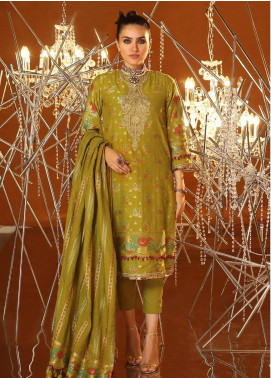 Al Karam Embroidered Jacquard Unstitched 3 Piece Suit AK20F-2 FC-03A-20 GREEN - Spring / Summer Collection