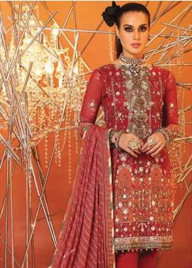 Al Karam Embroidered Cotton Net Unstitched 3 Piece Suit AK20F-2 FC-22J-20 - Festive Collection