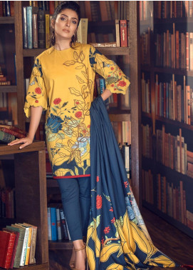 Al Karam Embroidered Broschia Unstitched 3 Piece Suit AK19MS MS 07 19 MUSTARD - Mid Summer Collection