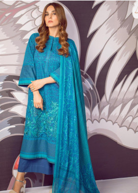 Al Karam Embroidered Cambric Unstitched 3 Piece Suit AK19MS MS 1.1 19 BLUE - Mid Summer Collection