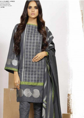 Al Karam Printed Jacquard Unstitched 3 Piece Suit AK19MS MS 11 19 GREY - Mid Summer Collection