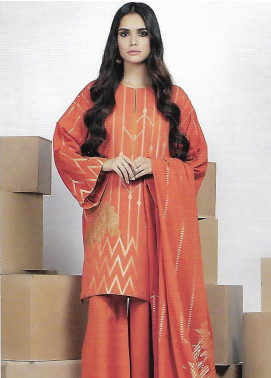 Al Karam Printed Jacquard Unstitched 3 Piece Suit AK19MS MS 12 19 RUST - Mid Summer Collection