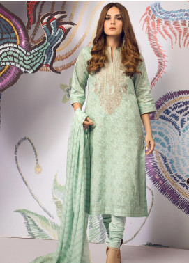 Al Karam Embroidered Cambric Unstitched 2 Piece Suit AK19MS MS 15.1 19 SEA GREEN - Mid Summer Collection
