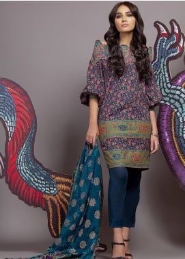 Al Karam Embroidered Cambric Unstitched 3 Piece Suit AK19MS MS 4.1 19 PURPLE - Mid Summer Collection