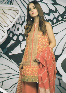 Al Karam Embroidered Cambric Unstitched 3 Piece Suit AK19MS MS 5.1 19 ORANGE - Mid Summer Collection