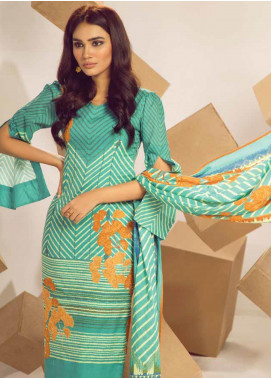 Al Karam Printed Cambric Unstitched 3 Piece Suit AKI19MS MS 03 19 Mint - Mid Summer Collection