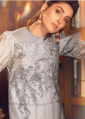 Al Karam Printed Cambric Unstitched 3 Piece Suit AKI19MS MS 15 19 Grey - Mid Summer Collection