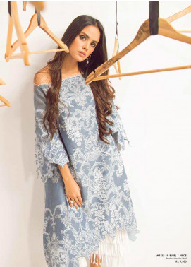 Al Karam Printed Denim Unstitched Kurties AKI19MS MS 22 19 Blue - Mid Summer Collection