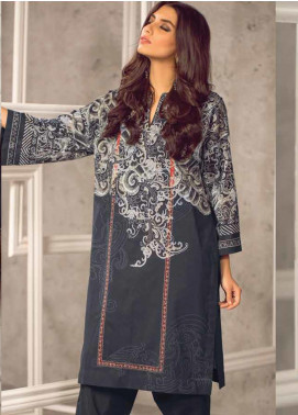 Al Karam Printed Cambric Unstitched Kurties AKI19MS MS 25 19 Black - Mid Summer Collection