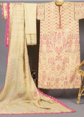 Al Karam Printed Jacquard Unstitched 3 Piece Suit AK20J JC-02-20-BEIGE - Spring / Summer Collection