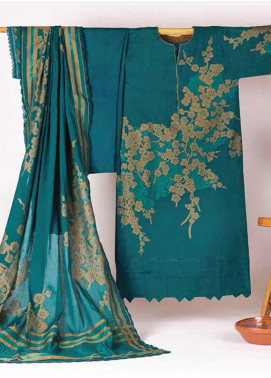 Al Karam Printed Jacquard Unstitched 3 Piece Suit AK20J JC-09-20-TURQUOISE - Spring / Summer Collection