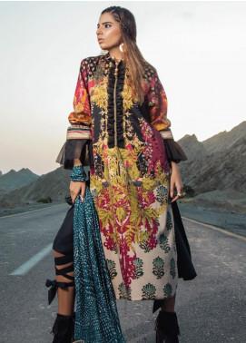 Al Karam Printed Cotton Satin Unstitched 2 Piece Suit AK19N FW-D1-19-2 - Luxury Collection