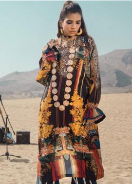 Al Karam Printed Cotton Satin Unstitched Kurties AK19N FW-D12A-19-2 - Luxury Collection