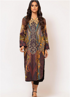 Al Karam Printed Cotton Satin Unstitched Kurties AK19N FW-D13A-19-2 - Luxury Collection